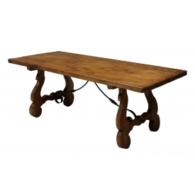 SPANISH REFECTORY TABLE, SCROLLED IRON ACCENTS