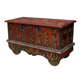 LARGE FIGURAL CARVED SOUTHEAST ASIAN STORAGE TRUNK