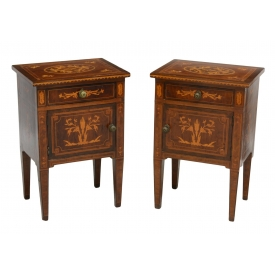(2) ITALIAN MARQUETRY BEDSIDE CABINETS