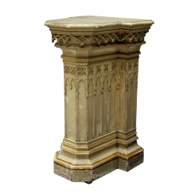FRENCH GOTHIC STYLE PARCEL GILT PEDESTAL, 19TH C.