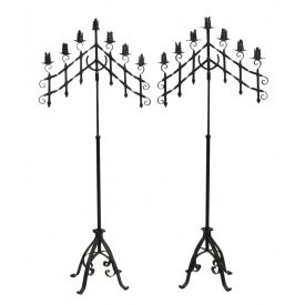 "CONTINENTAL BLACK IRON FOLIATED CANDLESTANDS, 61""H"
