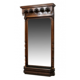 LARGE FRENCH HOTEL HALL MIRROR WITH JARDINIERE