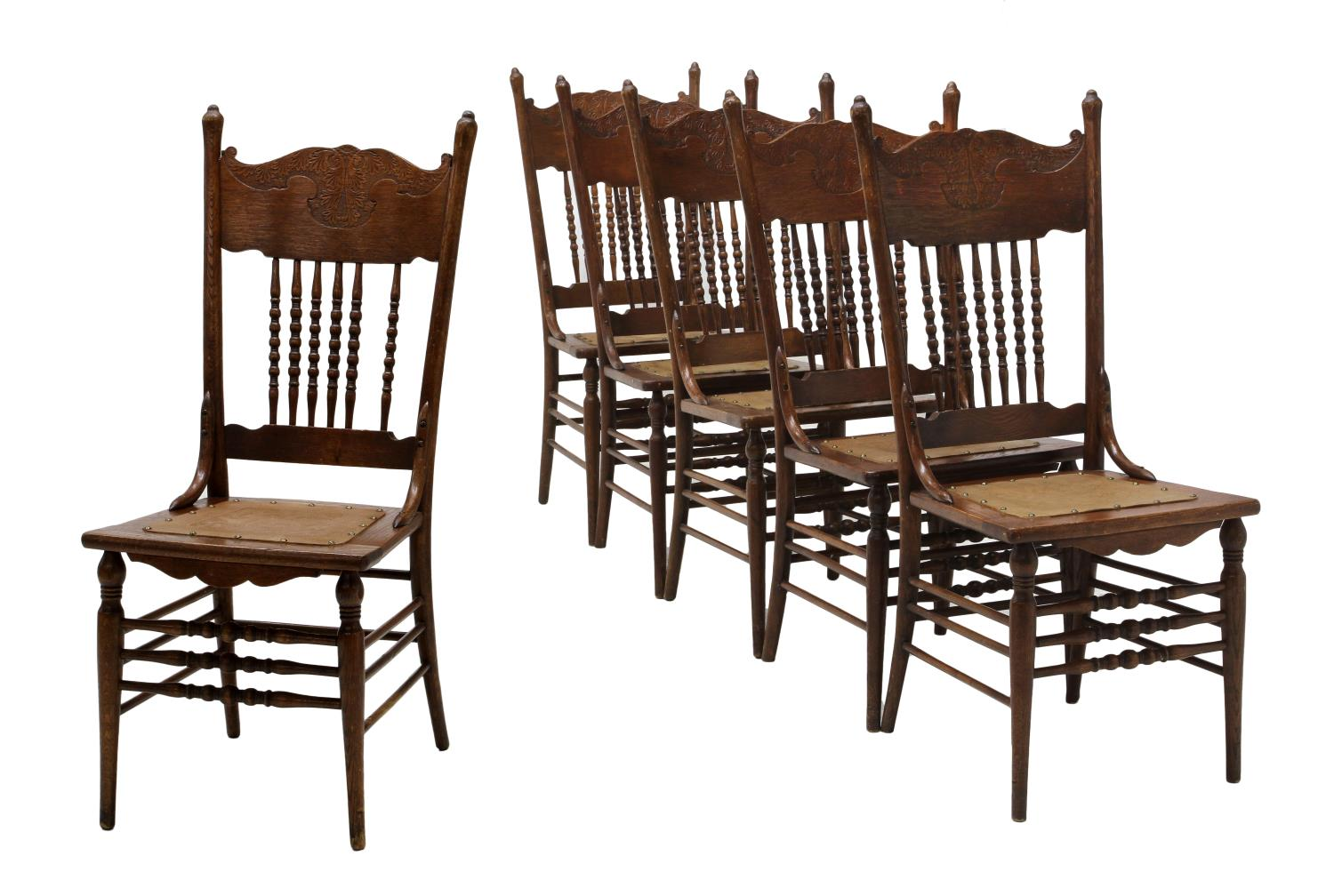 American pressed back oak side dining chairs