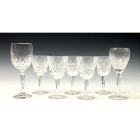 (7) WATERFORD LISMORE CLARET GLASSES & STEMWARE