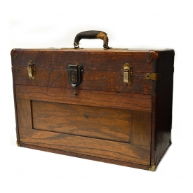 ANTIQUE OAK FITTED TRAVEL JEWELERS SPECIMAN CASE