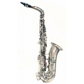 CASED FRANK HOLTON COMPANY SILVERPLATE SAXOPHONE