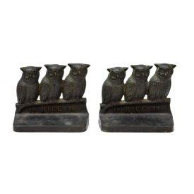 (2) 1939 RICE UNIVERSITY OWLS BRONZE BOOKENDS