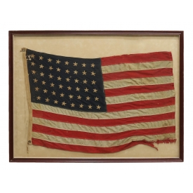 FRAMED AMERICAN FLAG SEWN WITH 48 STARS
