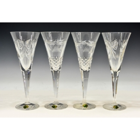 (4) WATERFORD CRYSTAL MILLENIUM TOASTING FLUTES