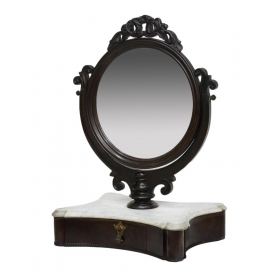 VICTORIAN SHAVING MIRROR ON MARBLE TOP BASE