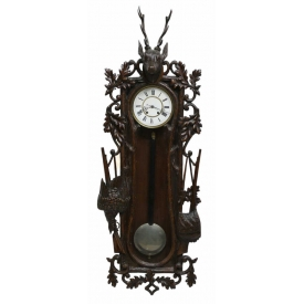 ANTIQUE BLACK FOREST STYLE GAME CARVED WALL CLOCK