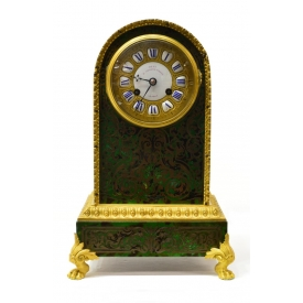 ENGLISH DENT BOULLE STYLE MANTLE CLOCK