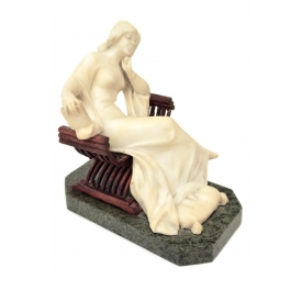 CARVED MARBLE SCULPTURE, SEATED WOMAN