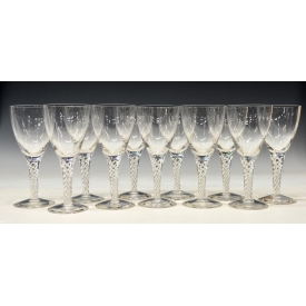 (11) STUART ARIEL AIR TWIST STEM COLORLESS GOBLETS