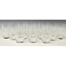 (16) COLORLESS CUT CRYSTAL TUMBLERS & GLASSES