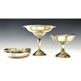 (3) STERLING SILVER PORRINGER & WEIGHTED COMPOTES