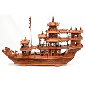 LARGE CHINESE CARVED ROSEWOOD DRAGON BOAT