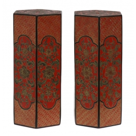 (2) CHINESE PARCEL GILT RED LACQUER HAT STANDS