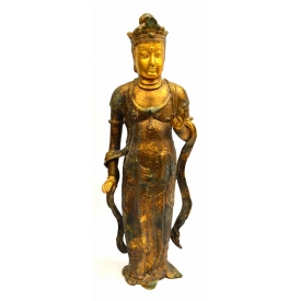 LARGE CHINESE PARCEL GILT IRON STATUE, GUANYIN