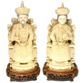 (2) CHINESE CARVED IVORY EMPEROR & EMPRESS FIGURES