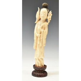 CHINESE CARVED IVORY FIGURE, BEAUTY & LOTUS FLOWER