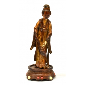 ANTIQUE CHINESE IVORY FIGURE, MAIDEN IN ROBES