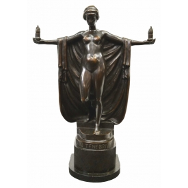 ANTON GRATH ART DECO BRONZE SEMI NUDE FEMALE