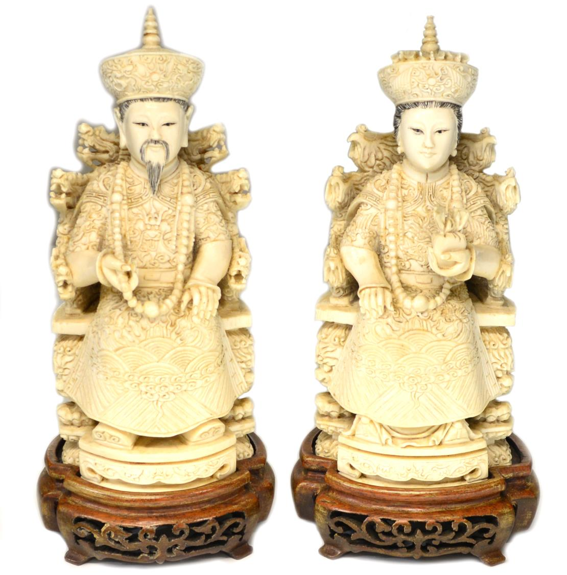 2 Chinese Carved Ivory Emperor Amp Empress Figures March
