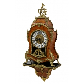 LOUIS XV STYLE GILT METAL & BURL BRACKET CLOCK