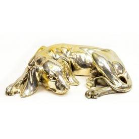 LARGE SILVERPLATE SCULPTURE, RECLINED HOUND DOG
