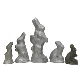 (5) ANTIQUE / VINTAGE GERMAN BUNNY CHOCOLATE MOLDS