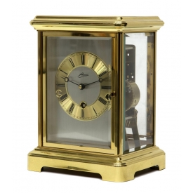 GERMAN JOHMID BRASS & GLASS  MANTLE CLOCK