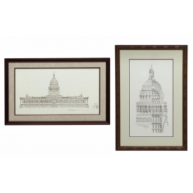 (2) FRAMED COPIES OF TEXAS CAPITOL BUILDING PLANS