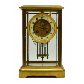 FRENCH JAPY FRERES BRASS CRYSTAL MANTLE CLOCK
