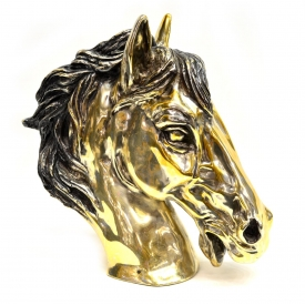 LARGE SILVERPLATE SCULPTURE, BUST OF A HORSE