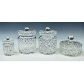 (4) WATERFORD CUT CRYSTAL BISCUIT & CONDIMENT JARS