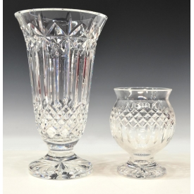 (2) WATERFORD CUT CRYSTAL PEDESTAL VASES