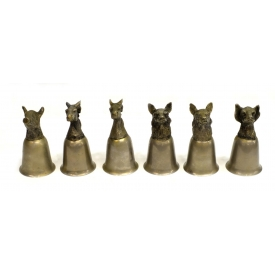 (6) ITALIAN WILDLIFE HEAD STIRRUP CUPS
