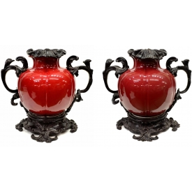 (2) LOUIS XV STYLE BRONZE MOUNTED PORCELAIN URNS