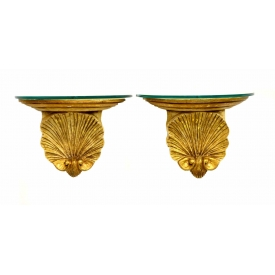 (2)CONTINENTAL GILTWOOD GROTTO STYLE WALL BRACKETS