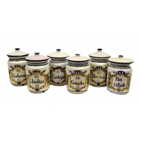 (6) ITALIAN MAJOLICA COVERED APOTHECARY JARS
