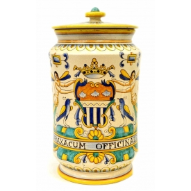 ITALIAN MAJOLICA POLYCHROME COVERED JAR, DERUTA