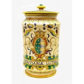 ITALIAN DERUTA MAJOLICA COVERED JAR, SIGNED