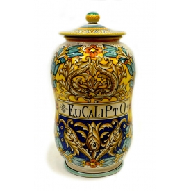 ITALIAN MAJOLICA POLYCHROME COVERED JAR