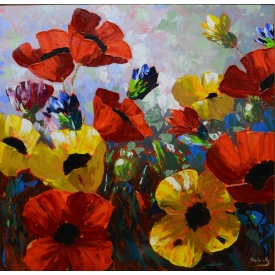 FRAMED PAINTING ON CANVAS, BRIGHT FLOWERS