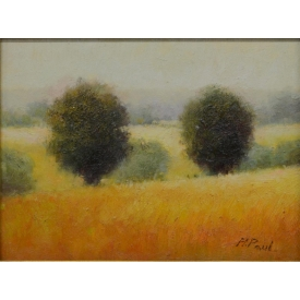 FRAMED PAINTING, TREES OPEN AIR LANDSCAPE