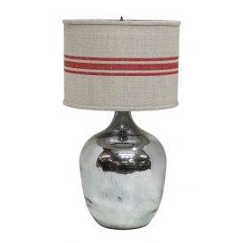 LARGE SILVERED GLASS BALON WINE JUG TABLE LAMP