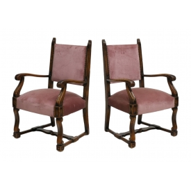 (2) FRENCH CARVED OAK UPHOLSTERED ARM CHAIRS