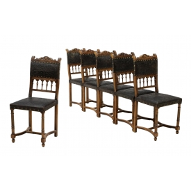 (6) ANTIQUE FRENCH EMBOSSED LEATHER CHAIRS