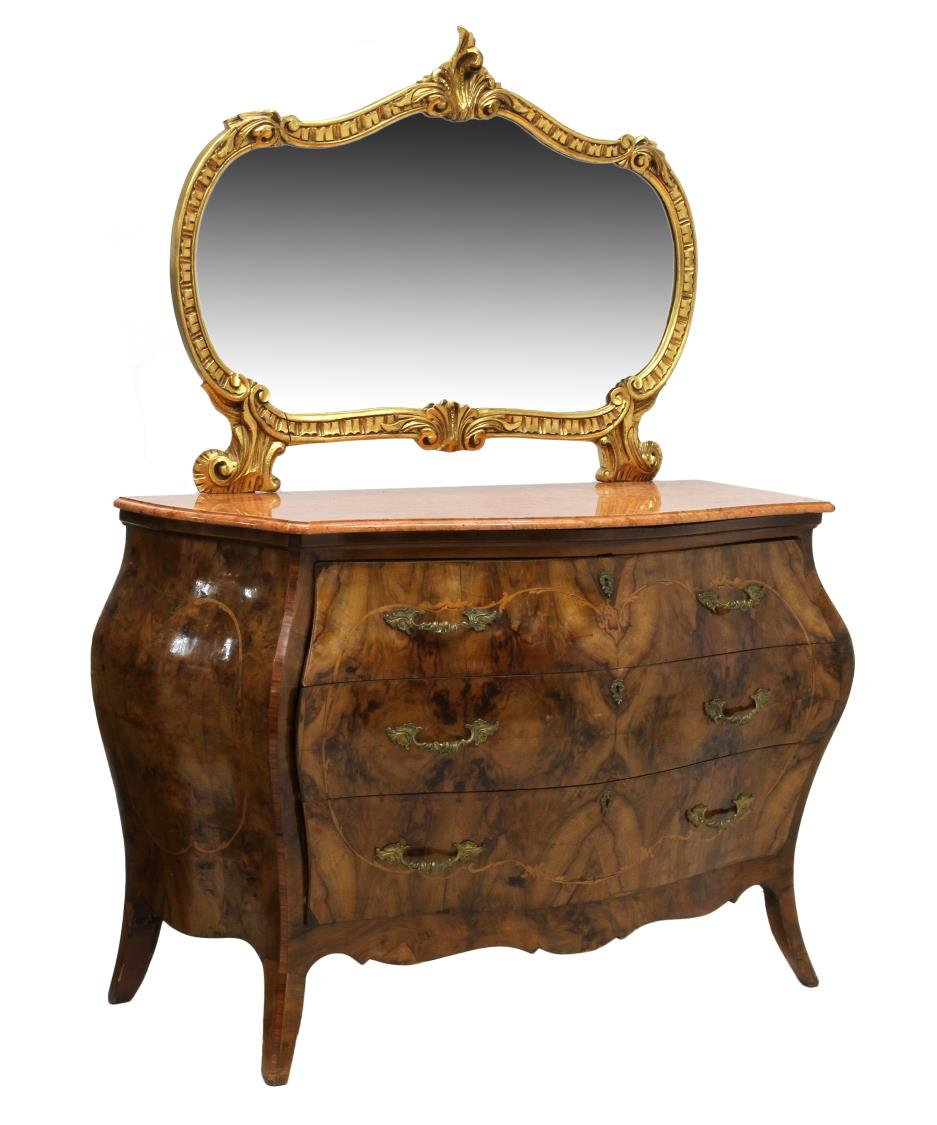 louis xv style bombe mirrored marble top commode spring. Black Bedroom Furniture Sets. Home Design Ideas